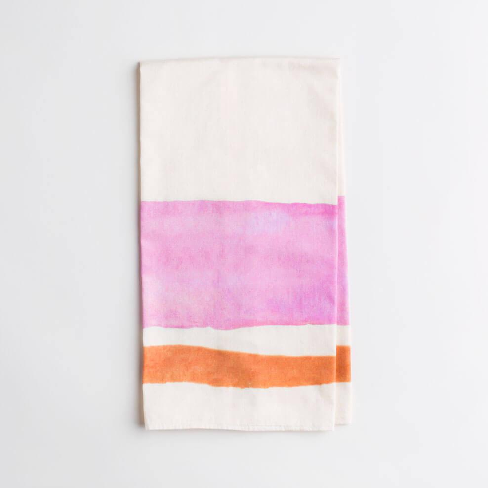 Luxury organic pink and orange watercolor stripe kitchen tea towel