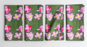 Organic cotton pink and green napkins
