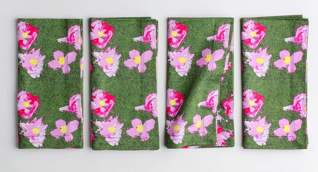 Organic cotton pink and green napkins