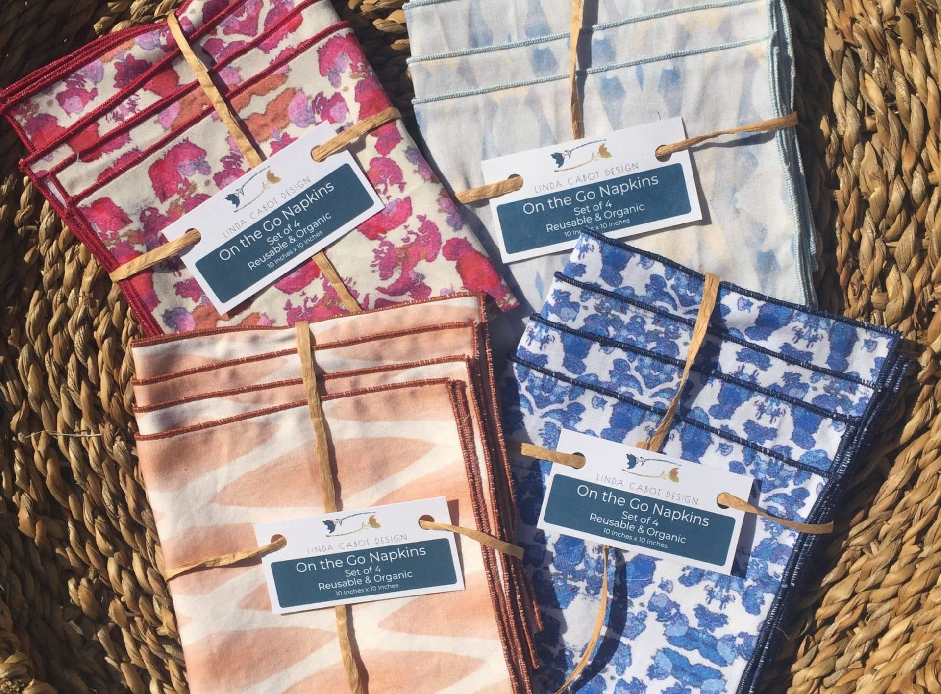 Organic cotton On the Go Napkins in a variety of colors
