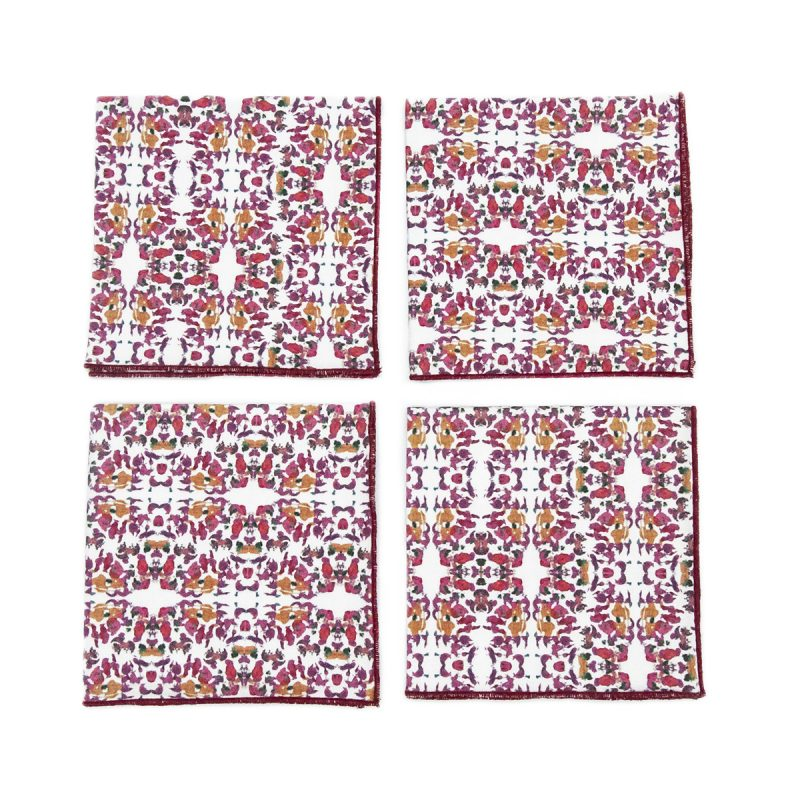 pink and white cocktail napkins
