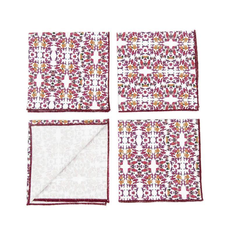 pink organic cotton cocktail napkins