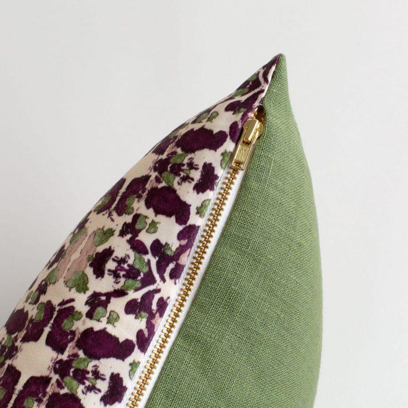 Zipper detail merlot and sage pillow