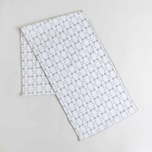 Gray and white patterned organic cotton table runner