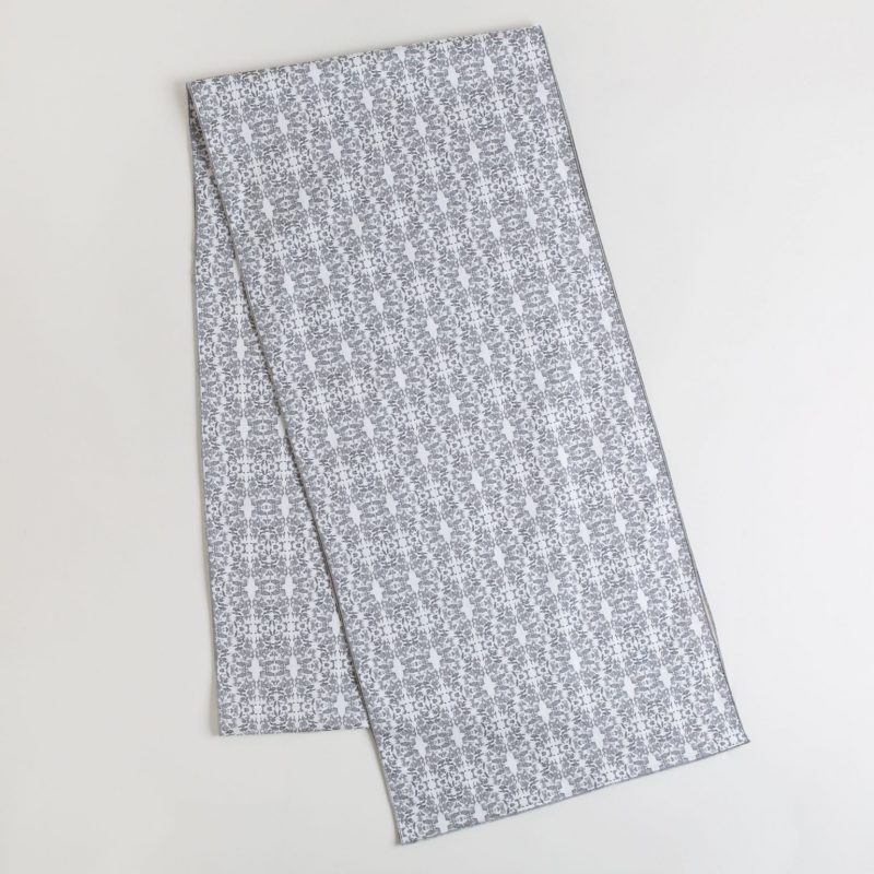 Graphite and white organic cotton table runner