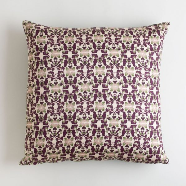 Beach Rose Merlot and Sage Pillow made from organic cotton pillow