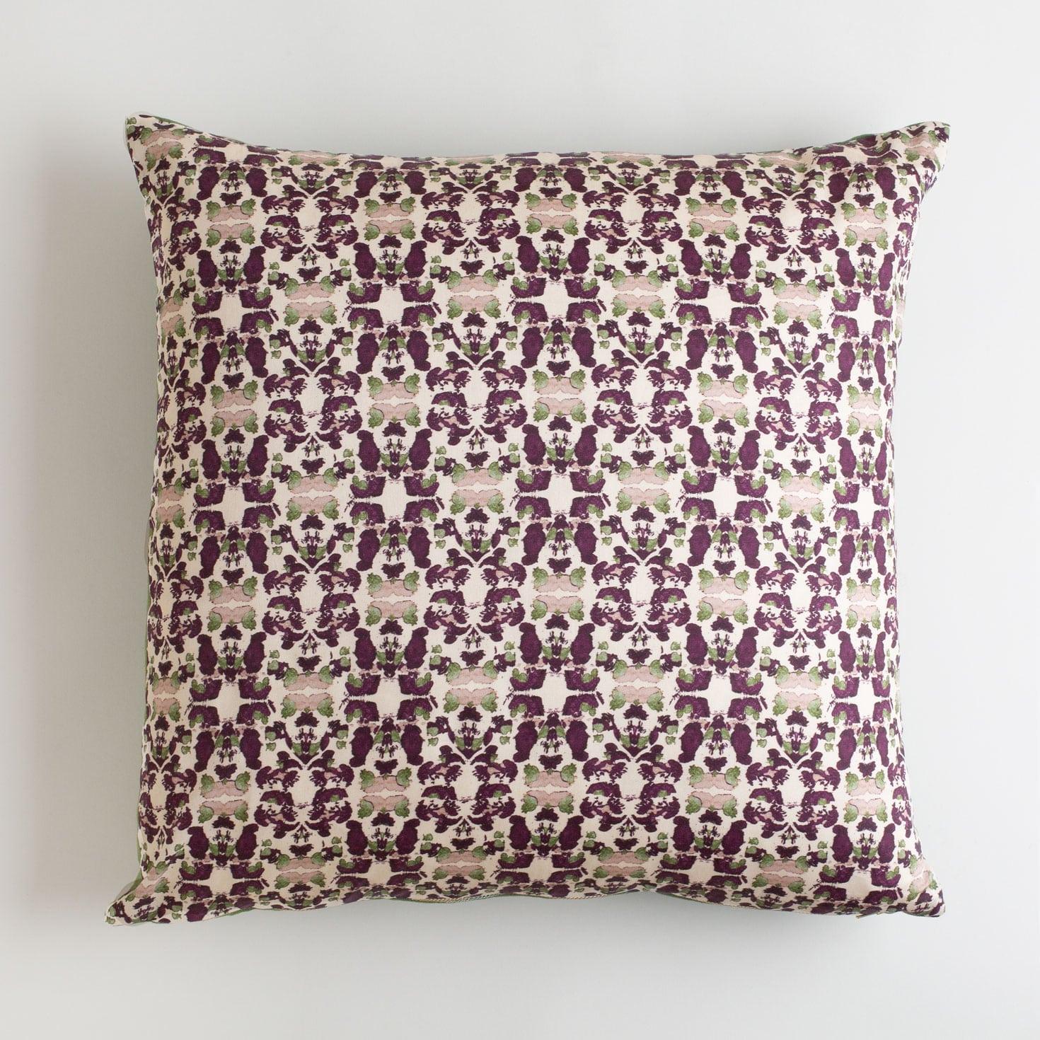 Beach Rose Merlot and Sage Pillow made from organic cotton pillow