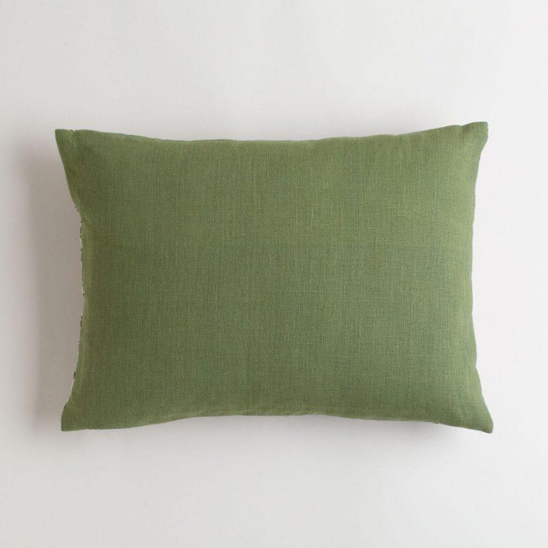 Merlot and sage pillow with moss green hemp backing