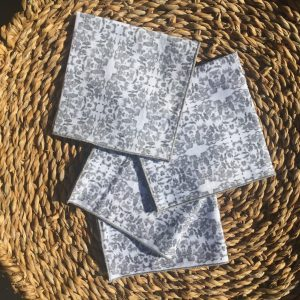 gray and white lunchbox napkins