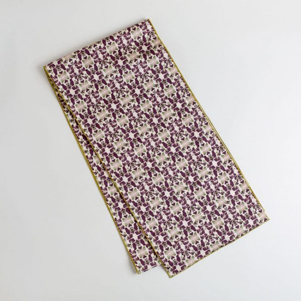 Merlot and sage organic cotton table runner