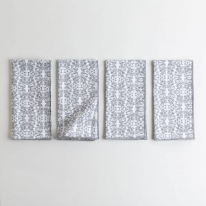 Graphite and white patterned napkin
