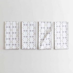 Gray gold and white organic cotton napkin