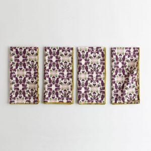 Merlot and sage patterned organic cotton napkins