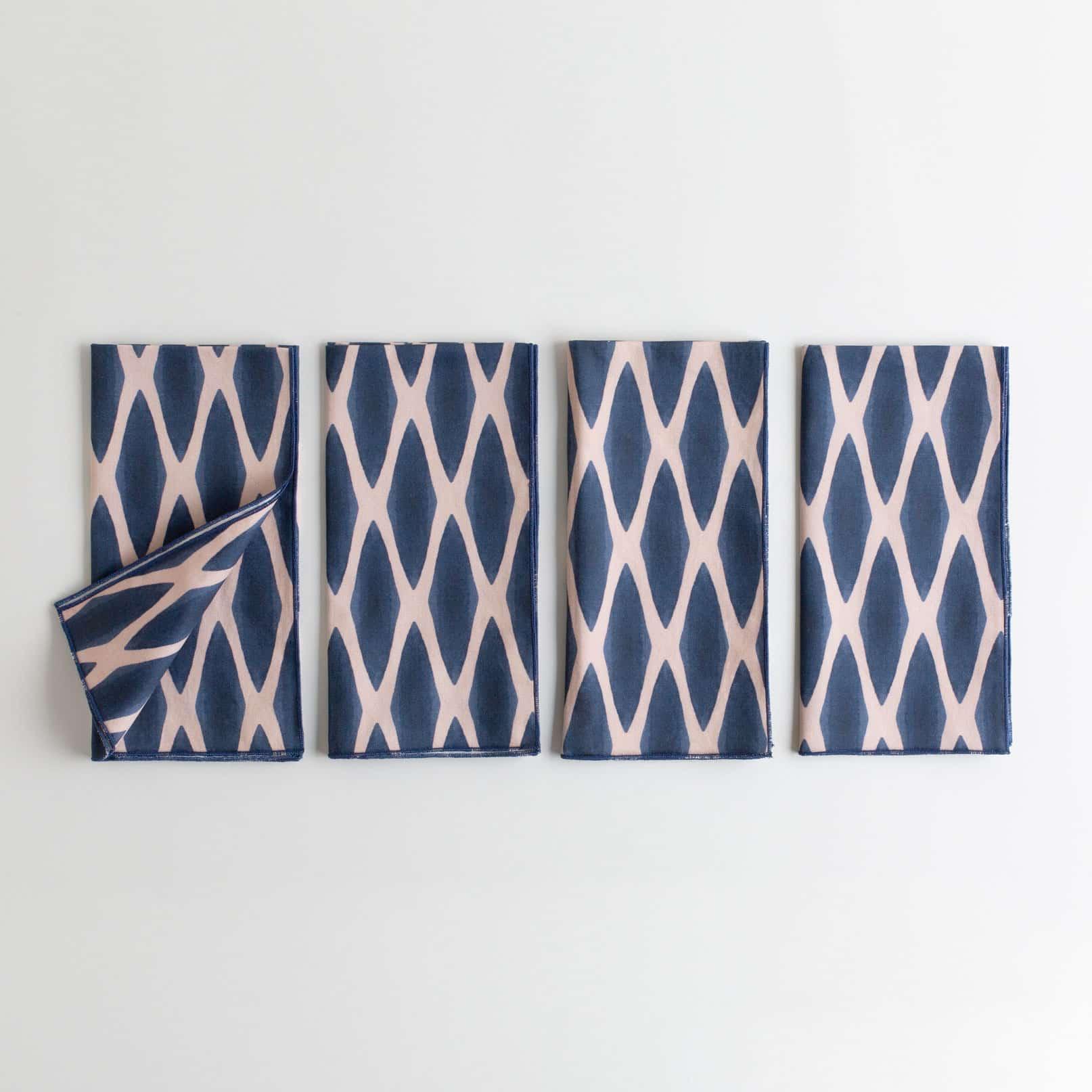 Navy and blush organic cotton napkin