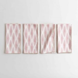 Pink and white patterned organic cotton napkin