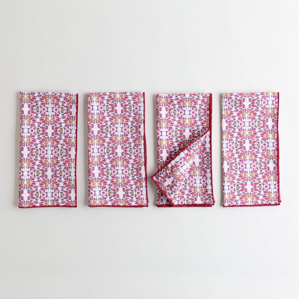 Red white and pink patterned organic cotton napkin