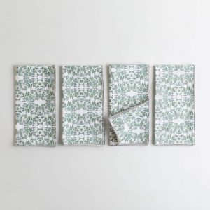 Sage and white organic cotton napkin