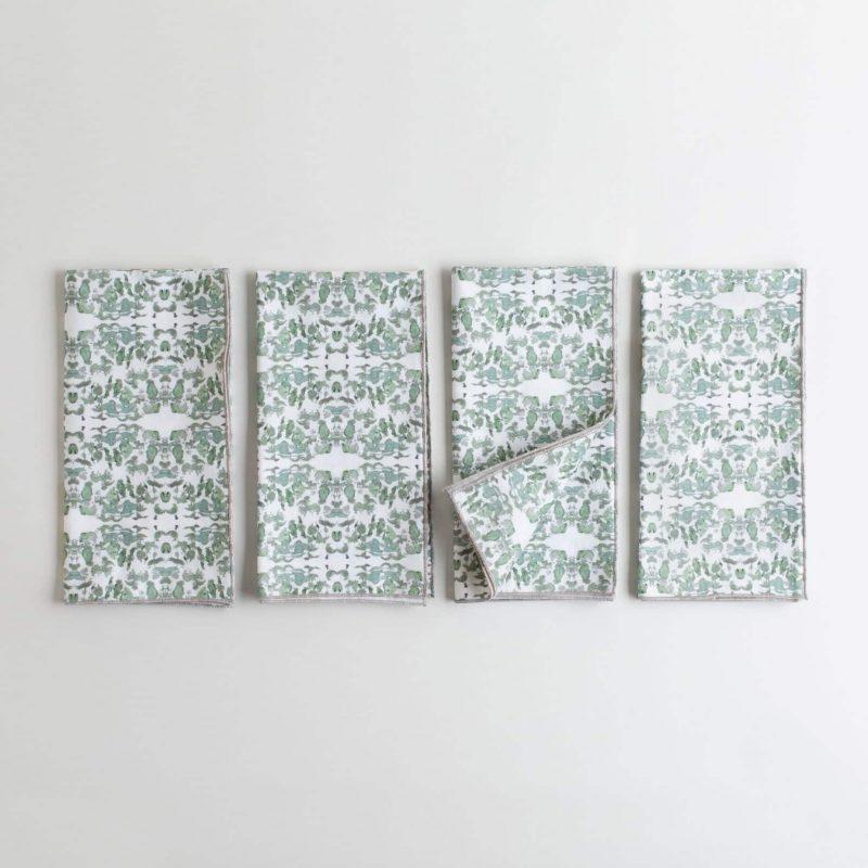 Sage and white organic cotton napkin