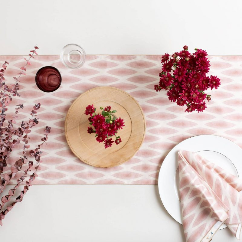 Pink and white table runner with autumnal table setting_organic cotton_Linda-Cabot-Design