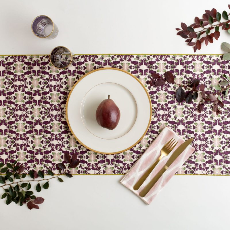 Merlot and sage organic cotton table runner with autumn table decor