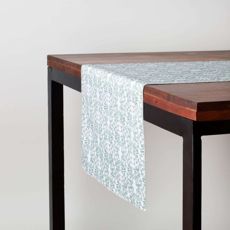 Sage and white table runner made from organic cotton