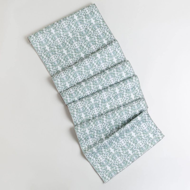 Sage and white lace patterned table runner made from organic cotton