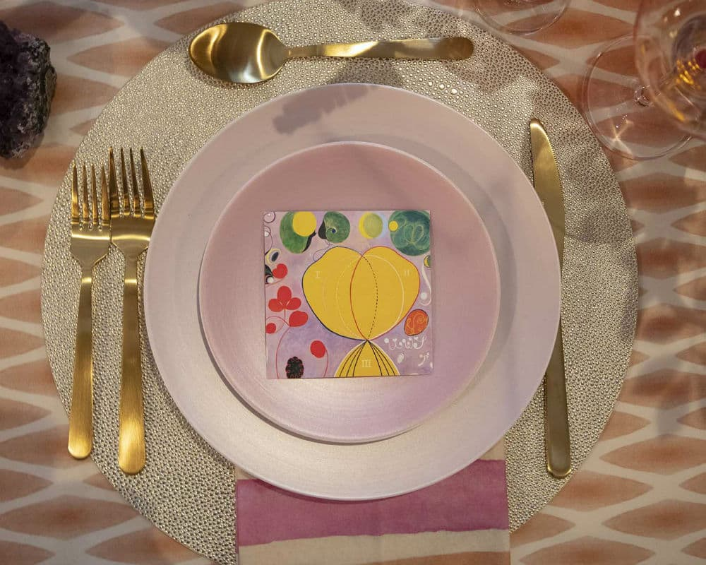 Pink plates Hilma af Klint inspired dining table
