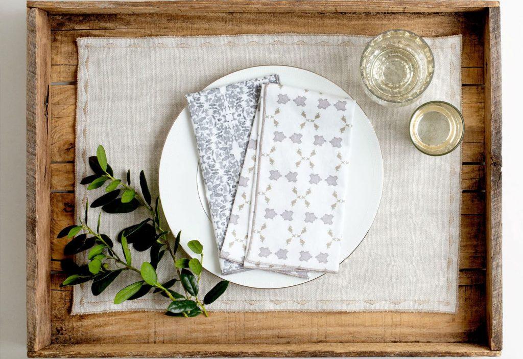 organic white and gray napkins