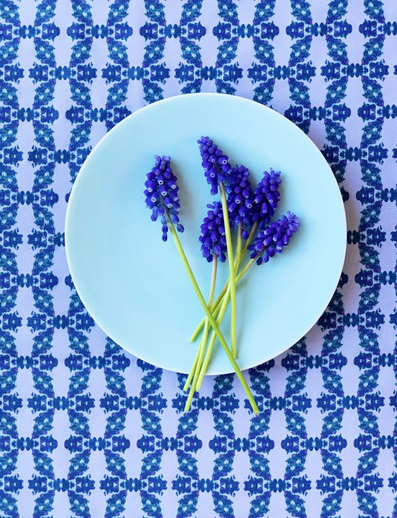 Blue sustainable table runner