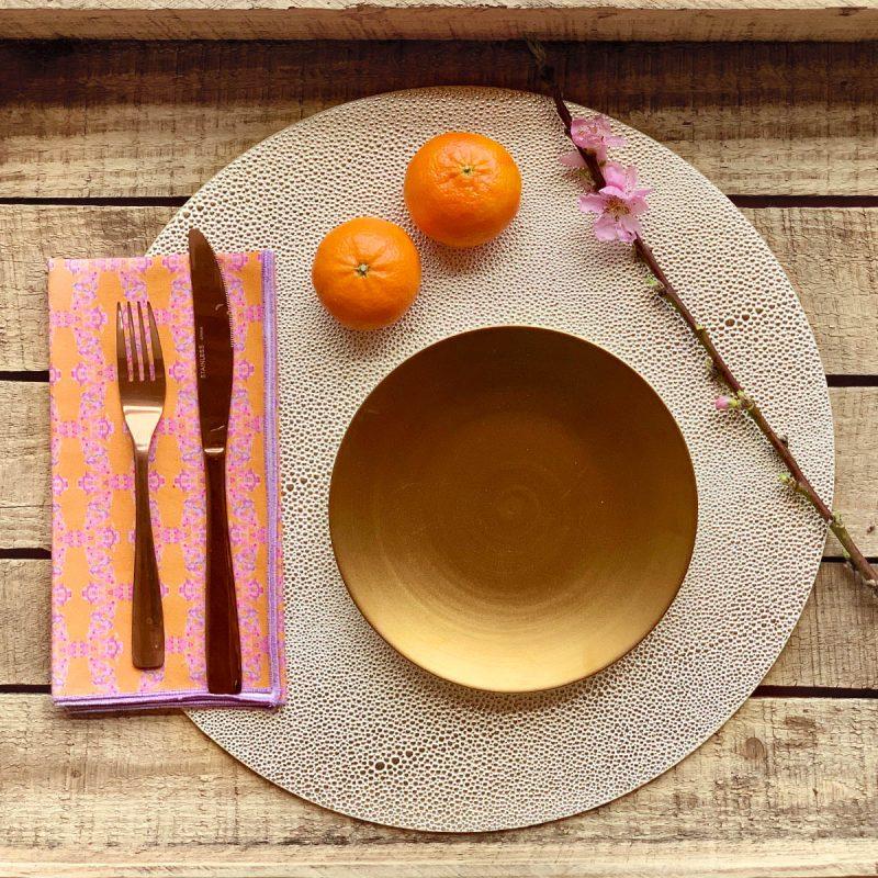 orange reusable cotton napkin