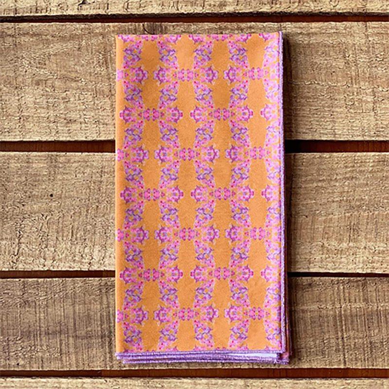 Orange and pink organic cotton napkin