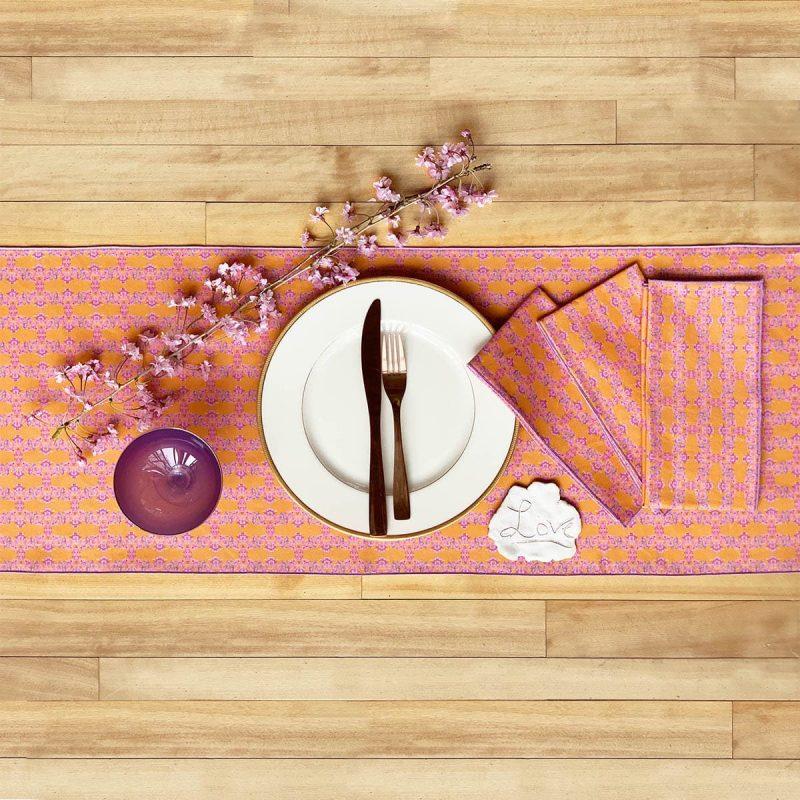 Prisma orange table runner and napkins
