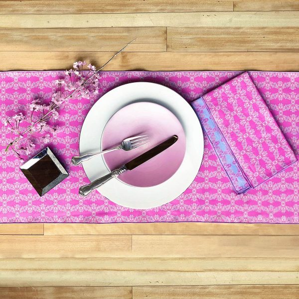 Pink sustainable table runner and napkins