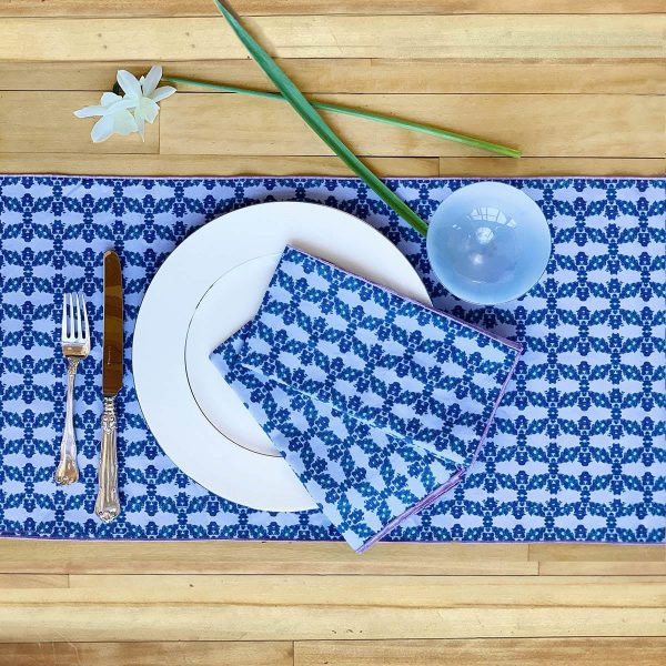 blue sustainable table runner and napkins
