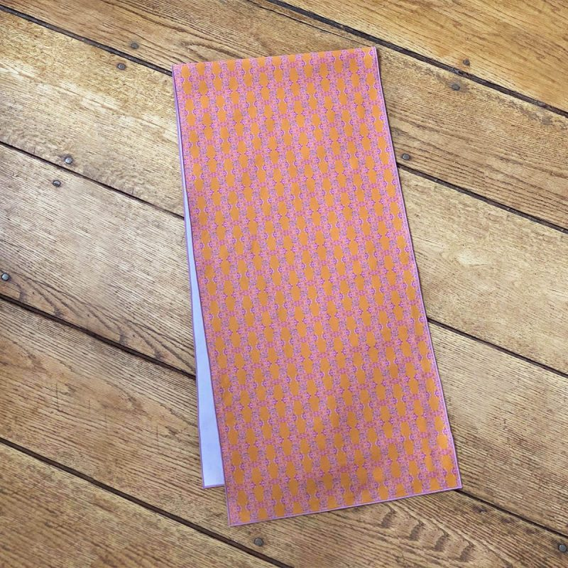 Orange and pink organic cotton table runner