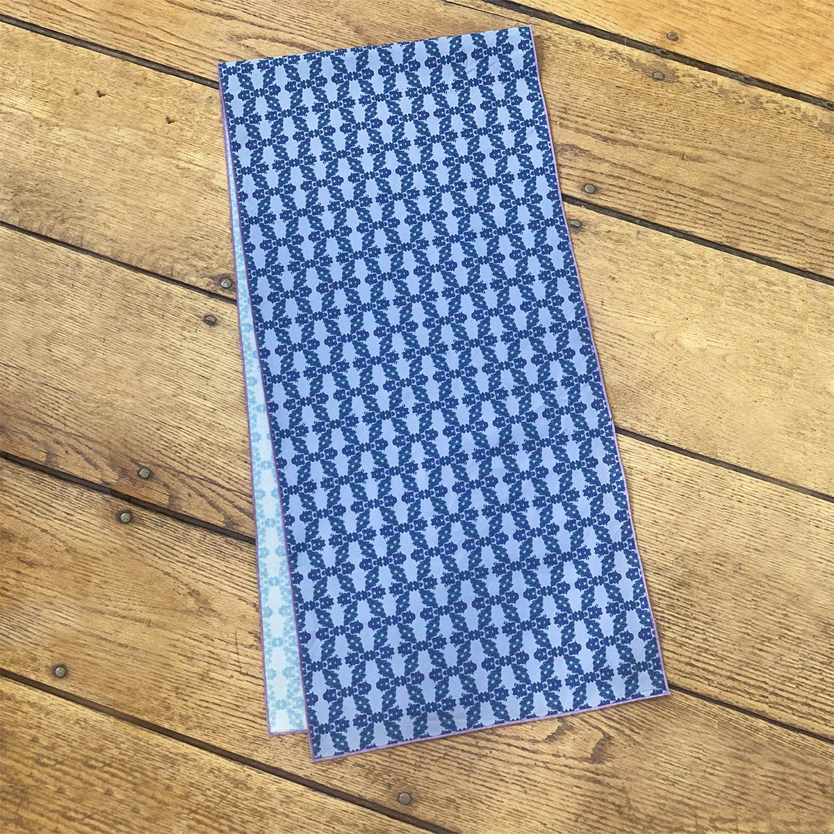 Blue and periwinkle organic cotton table runner