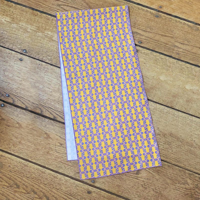 Yellow and blue organic cotton table runner