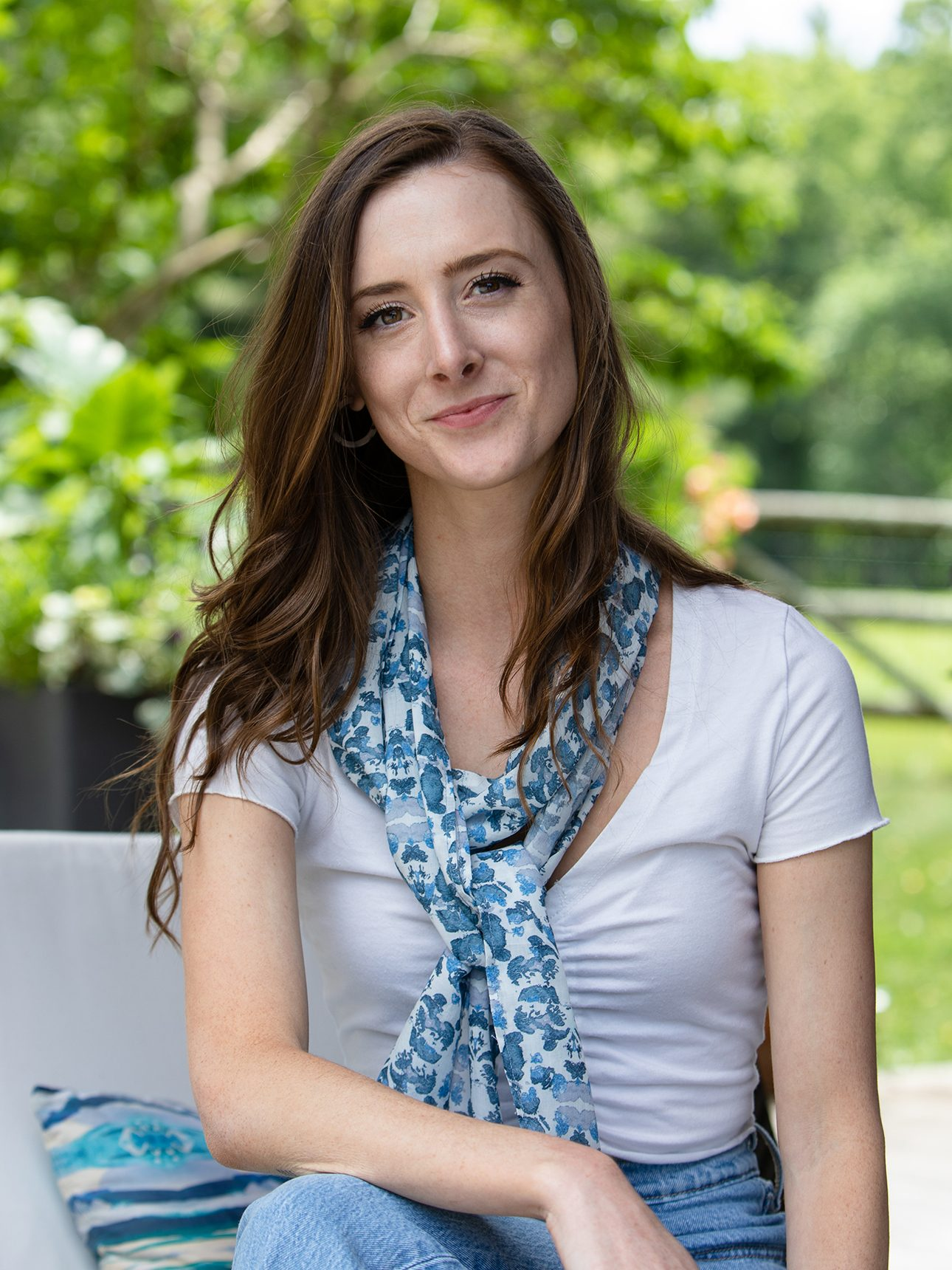 blue sustainable summer wrap scarf