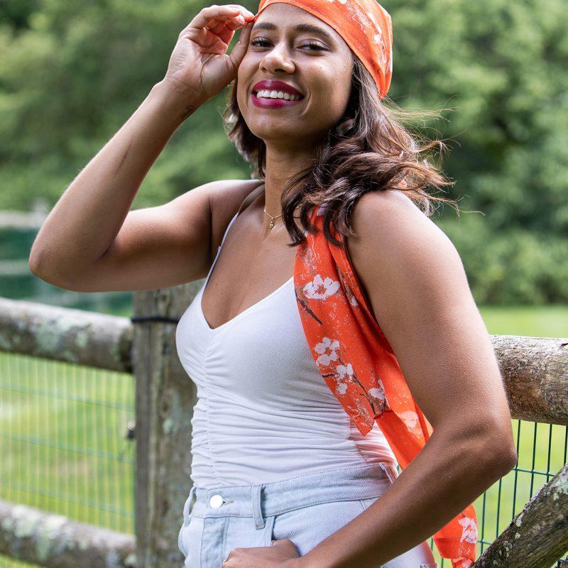 orange sustainable scarf
