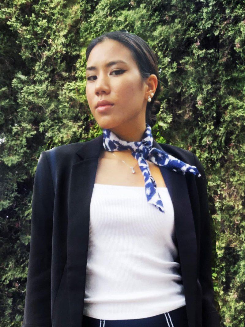 sustainable tencel cheetah square neck kerchief scarf