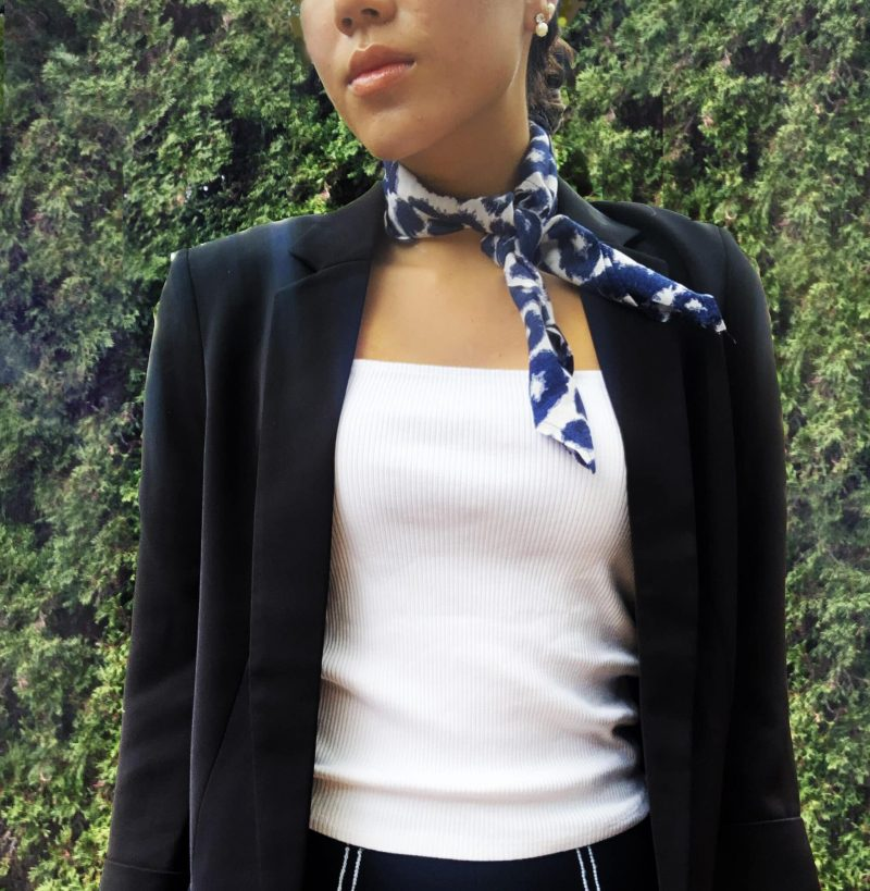 sustainable cheetah square neck kerchief scarf