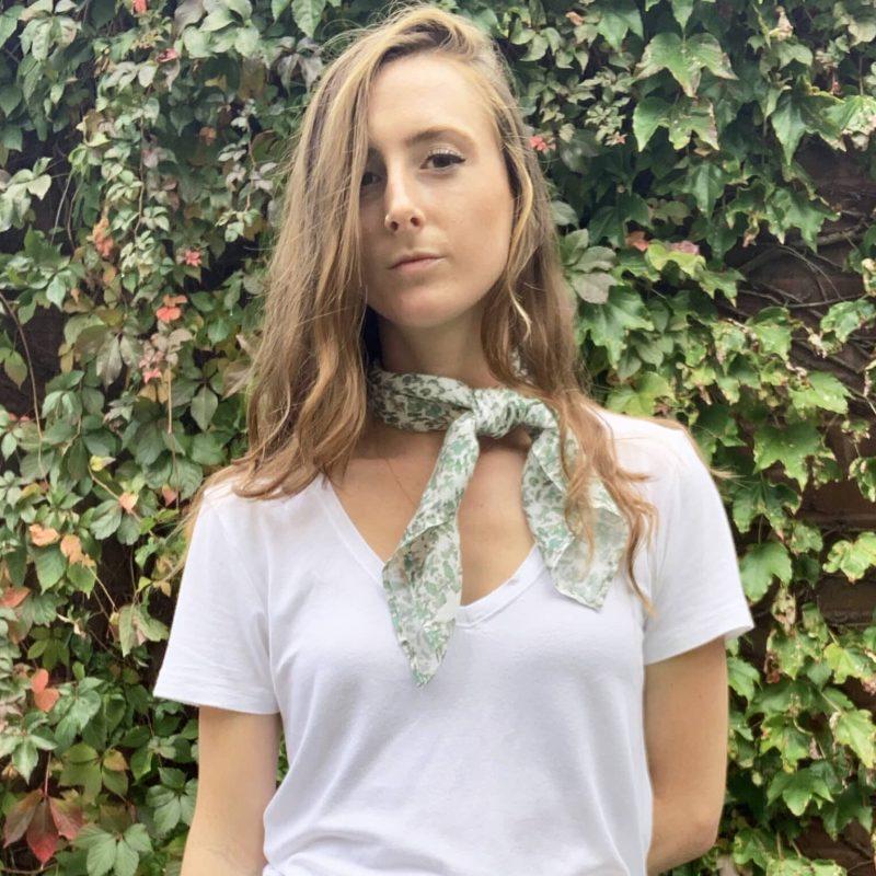 Lace sage tencel square kerchief scarf