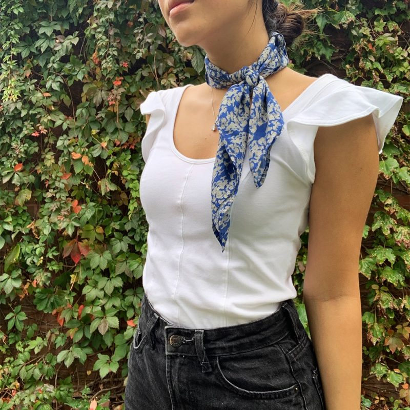 Navy Lace Sage Square Kerchief Scarf