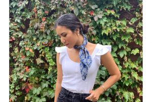 Sustainable Blue neck kerchief scarf