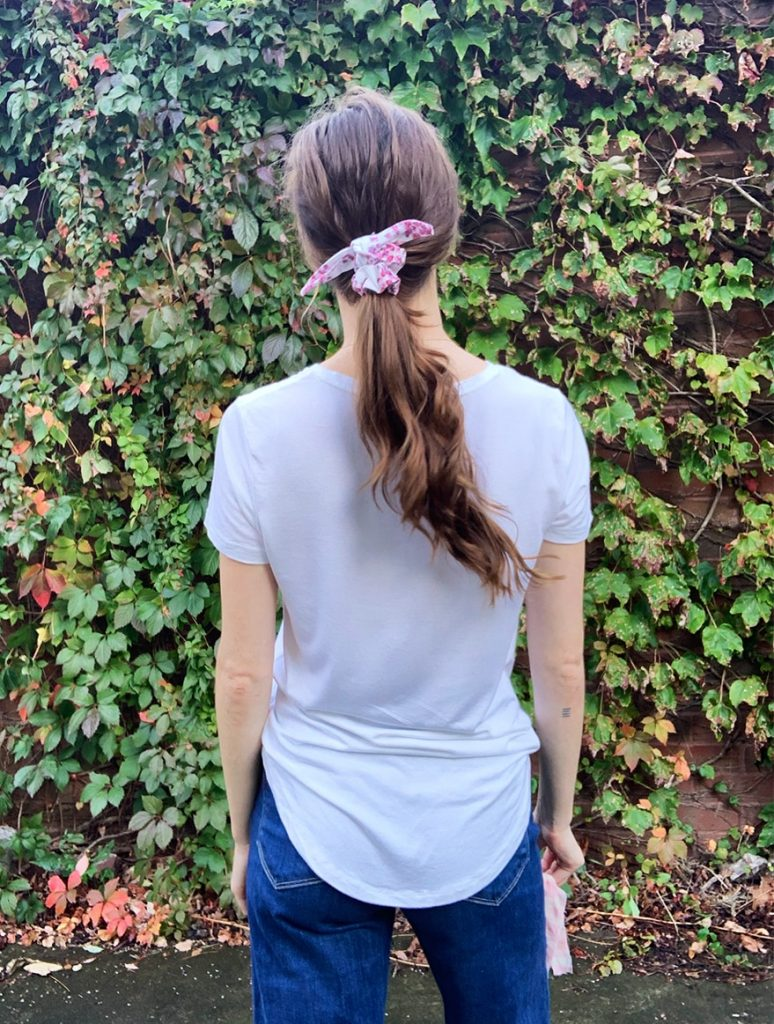 organic cotton pink and white scrunchie