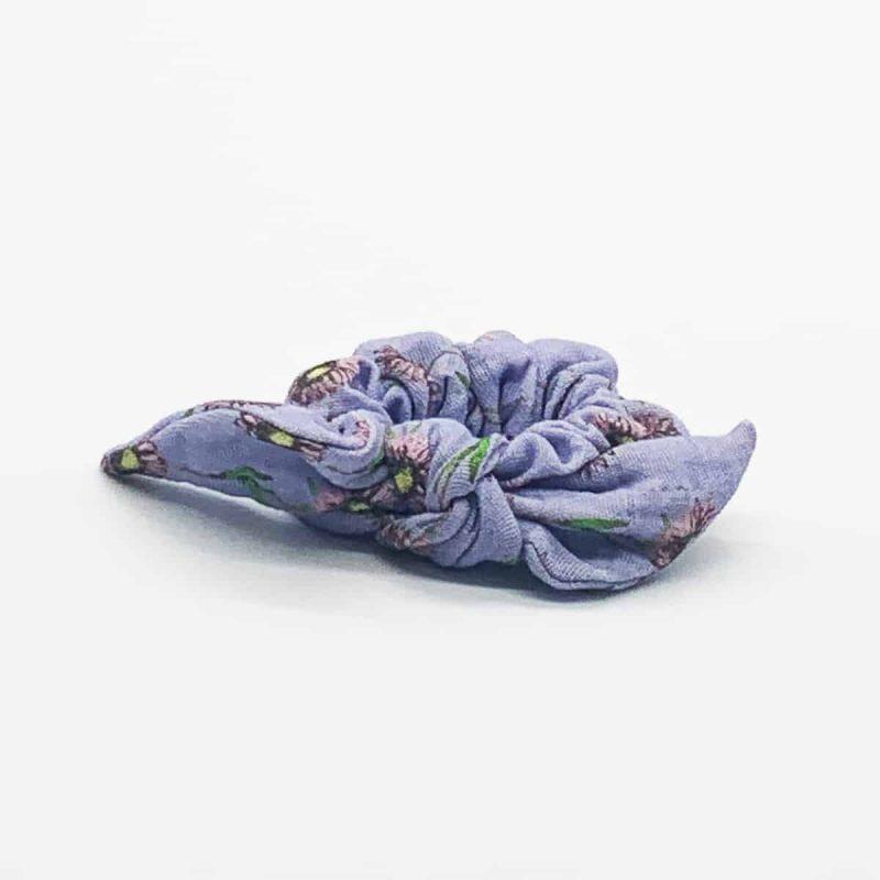 Gauze Lavender Daisy Scrunchie