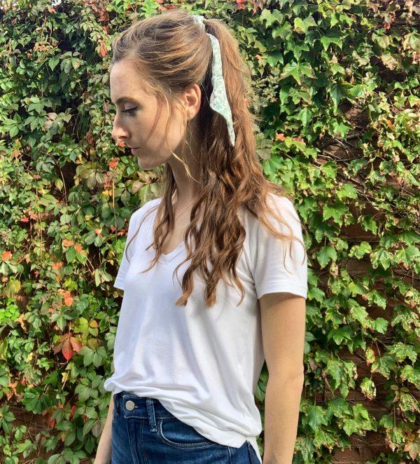 Lace Sage Tencel Hair Scrunchie Kerchief