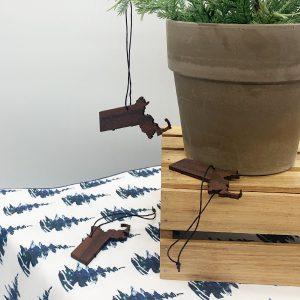wooden massachusetts ornament