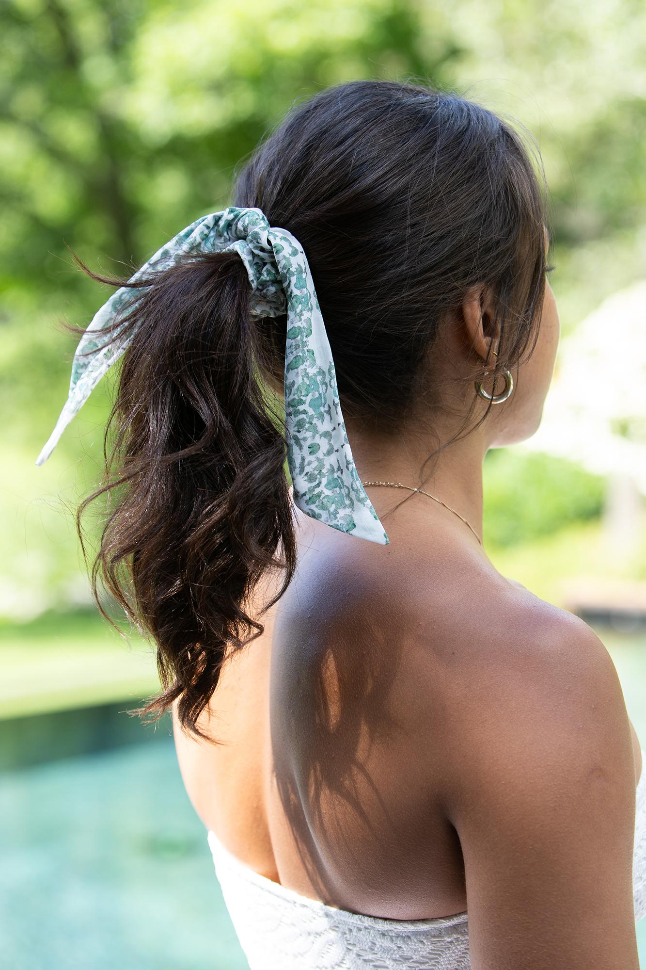 Sage green sustainable kerchief scrunchie