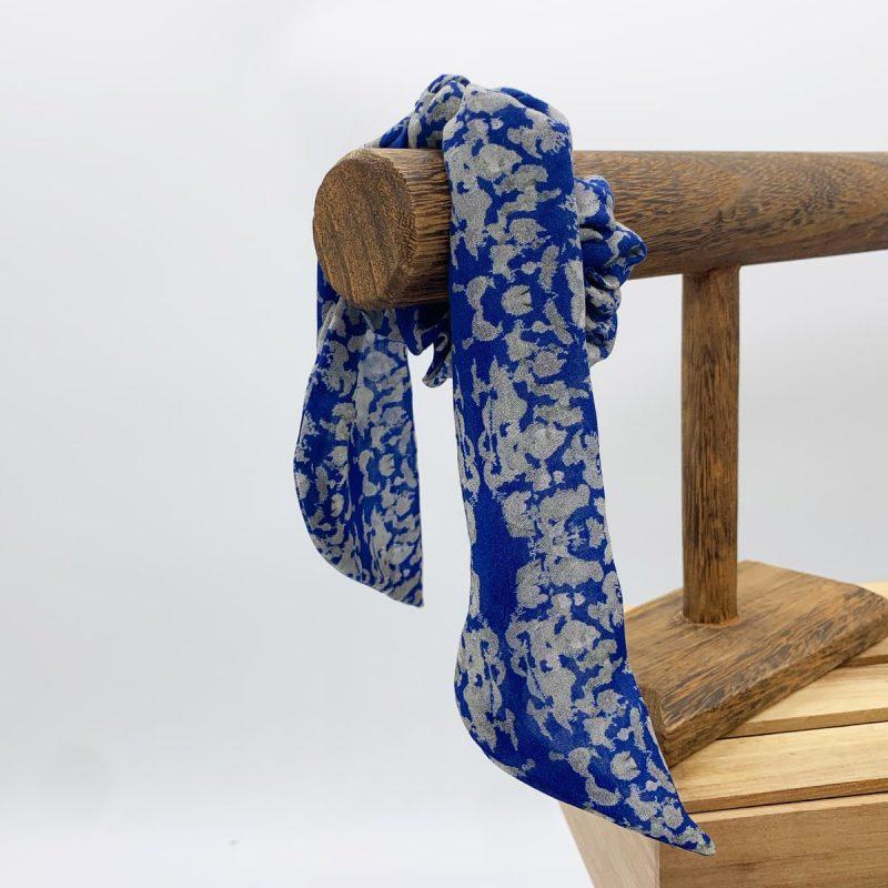 Tencel Srunchie Navy Lace Sage kerchief